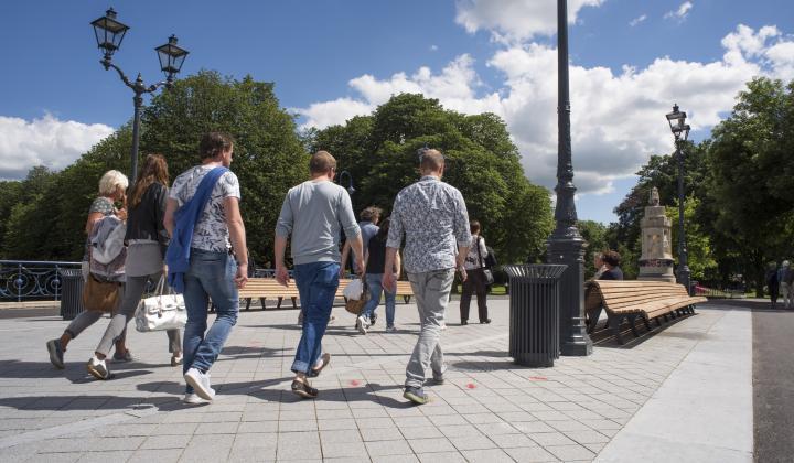 Mensen op de Willemsbrug